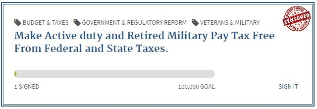Active duty and retired military tax free pay