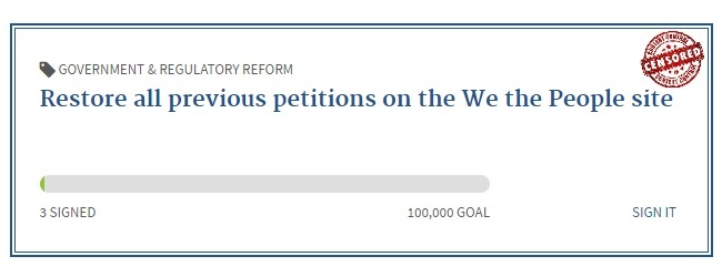 Restore all previous WH petitions