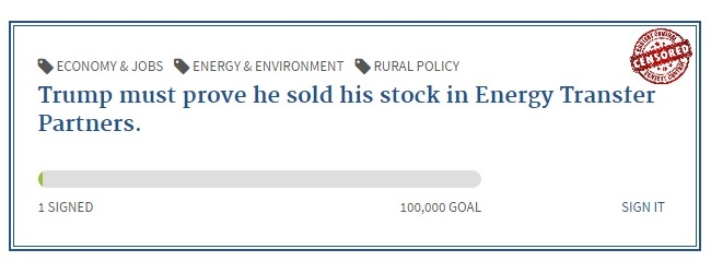 POTUS prove he sold Energy Transfer Partners Stock