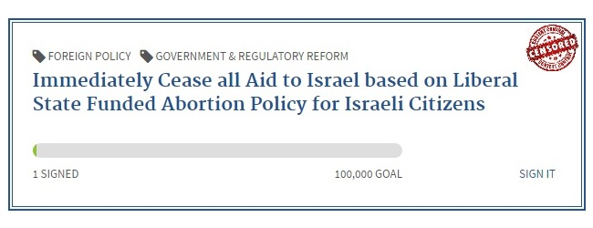 Cease aid to Israel because of abortion policy